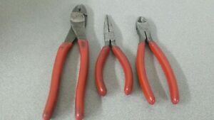 Snap On Side Cut Pliers Needle Nose Pliers And Blue Point Cutter Crimp Tool Red