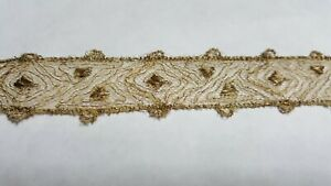Antique Gold Metallic Lace With Dots Plus Gold Metallic Lace 10 1 2 Yds