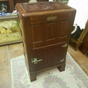 Vintage Antique Baldwin Top Load Icebox Refrigerator Wood