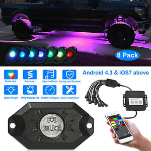 8x Pods Car Auto Rgb Led Rock Light Offroad Wireless Music Controller Waterproof