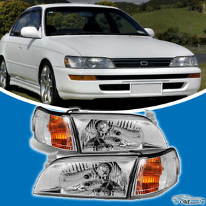 For 1993 1997 Toyota Corolla Jdm Headlights Chrome Housing Glass Lens Pair Set