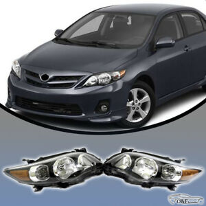 For 2011 2013 Toyota Corolla Black Housing Headlights Clear Lens Headlamps Rh Lh