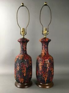 Mid Century Modern Volcanic Glaze Fat Lava Vintage Multi Color Lamp Pair