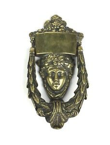 Antique Classical English Lady Bronze Door Knocker