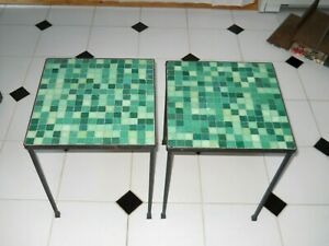 Pair Italian Mid Century Modern Glass Mosaic Tile Iron Tables Paul Mccobb Style