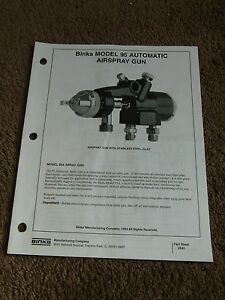 Binks Model 95 Automatic Air Spray Gun 95a Owners Manual Parts Operation Set up