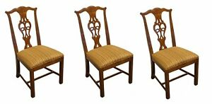 Set Of 3 High End Solid Cherry Chippendale Style Dining Side Chairs 2902 28