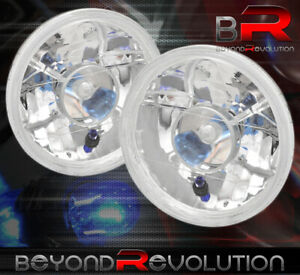 7 Round H4 Conversion Crystal Glass Lens Projector Head Lights Lamps Set Chrome