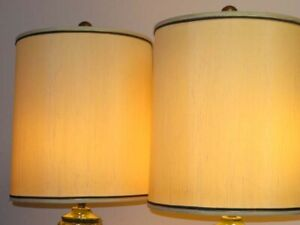 Pair Mid Century Modern Linen Cloth Oversized Lamp Shades With Green Ribbon