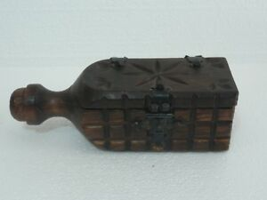 Vintage Witco Wood Chest Jewelry Trinket Bottle Shaped Box W Horseshoe Nails