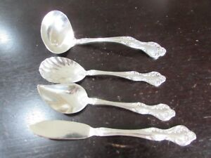 4 Serving Pieces Reed Barton Wisteria Silver Plate