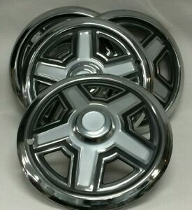N 94 Set Of 4 Pieces Steel W Black Hub Cap Wheel Covers For Trailer Rv Camper