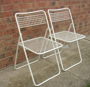 Pair Of Vintage Emu Italy Metal Wire Folding Patio Chairs Mcm