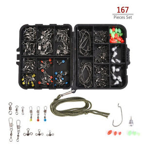 167pcsbox Fishing Accessories Kit Including Jig Hook Bullet Bass Casting E8Z0