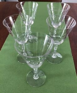 Set Of 5 Antique Etched Wine Or Water Glasses Goblets Shaped Stems