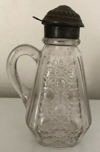 Vintage Cut Glass Syrup Pitcher With Silver Cap 7 1 4 Inches Tall
