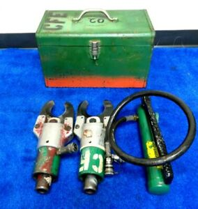 Pair Greenlee 750 751 Hydraulic Cable Cutter 767 Hand Pump In Metal Case