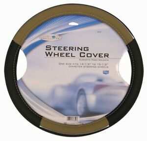 Universal Leather Black tan chrome Steering Wheel Cover For Auto car truck