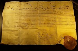 King Louis Xv Autograph Document Signed By His Hand With Large Wax Seal 1769