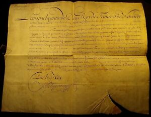 King Louis Xv Autograph On Large Parchment Document 1727