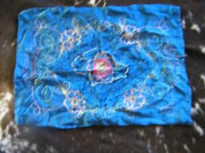 Antique Victorian Embroidered Blue Satin Pillow Case Sham