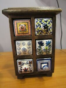 Wood 6 Ceramic Drawers Spice Herb Cabinet Apothecary Box Chest Jewelry Crafts