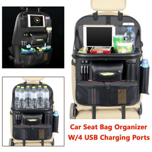 1x Car Suv Seat Back Organizer With 4 Usb Ports Charger Multi pocket Storage Bag
