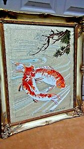 Antique Japanese Silk Embroidery Of Fish Playing In Water Signed Numbered Framed