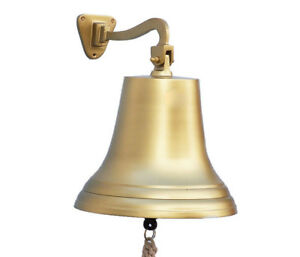 Antiqued Brass Finish Solid Aluminum Ship S Bell 12 Nautical Hanging Wall Decor