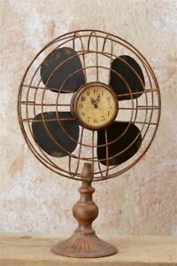 Primitive Aged Victorian Type Reproduction Metal Antique Fan Clock Lfe Size