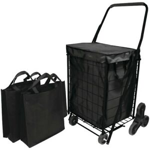 New Helping Hand Fq39908bk Stair Climb Cart With Liner 2 Bags