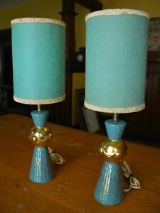 Mid Century Modern Atomic Pair Lamps Teal Turquoise Aqua Gold With Original Shad