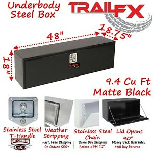 190483s Trailfx 48 Matte Black Steel Underbed Truck Trailer Tool Box