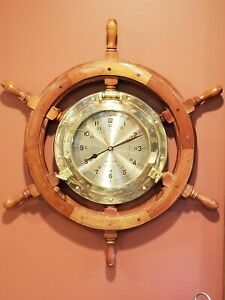 Vtg Nautical Ship S Time Brass Quartz Wall Clock Wood Wheel Large Dial 25 X 22