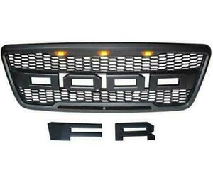Fit For Ford F150 2004 2008 Raptor Style Lighting Bumper Front Hood Grille Black
