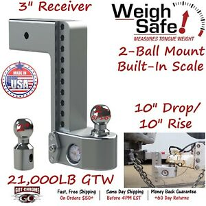 Ws10 3 Weigh Safe 3 Receiver Adjustable Ball Mount Hitch With 10 Drop 10 Rise