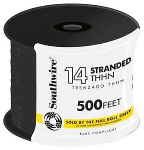 500 Black 14 Gauge Stranded Cu Thhn Wire Outlet Swtiches Commercial Wiring Kit
