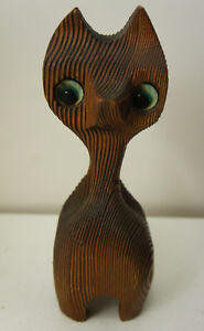 Vintage Burnt Wood Cat Carving Wooden Sculpture Cute Tiki Big Eyes Mcm Witco