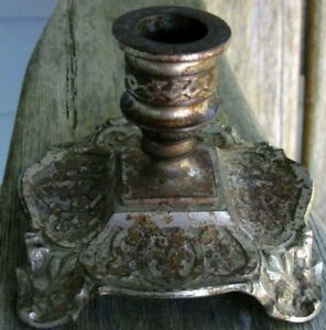Antique Art Nouveau Deco Metal Candle Holder Shabby Chic Vintage Rustic