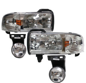 For 94 01 Dodge Ram 1500 2500 3500 Pickup Replacement Headlights W fog Lamp Used