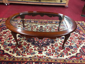 Pennsylvania House Solid Cherry Glass Top Coffee Table Delivery Available