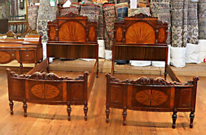 Best Pair Satinwood Burled Walnut French Twin Size Beds King Restored C1920