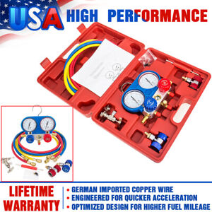 4 Way Ac Manifold Gauge Set R410a R22 R134a With Hoses Coupler Adapter 1 2 Acme