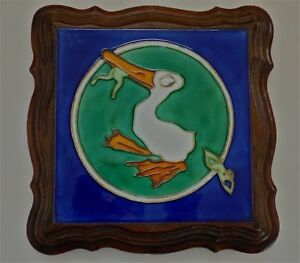 Rare Antique 1900 Trivet Benjamin Rabier Nouveau Deco Tile French Duck