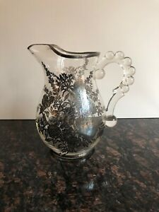 Crystal Glass Sterling Silver Overlay Large Pitcher Vintage Antique Depression