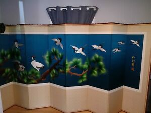 Antique Japanese 8 Panel Screen Embroidery Crane Tree Branch And Calligraphy