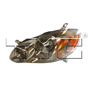 Tyc 20 6236 90 1 Left Headlight Assembly For 2003 2004 Toyota Corolla To2502142