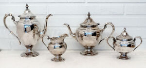 Gorham Sterling Silver Puritan 4 Pc Coffee Tea Pot Creamer Sugar Set 1786grams