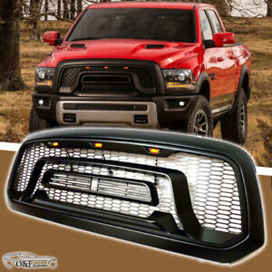 For 2013 2017 Ram 1500 Black Front Bumper Hood Grill Rebel Style Grille W led
