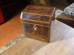 Antique Georgian Small Burr Walnut Tea Caddy With Inlay And Olive Wood Edging